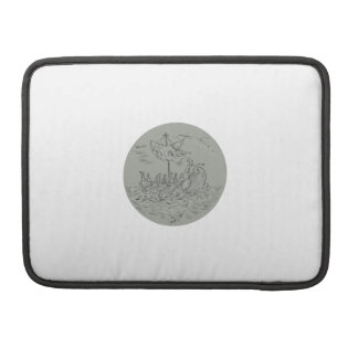 Ancient Greek Trireme Warship Circle Drawing Sleeve For MacBook Pro