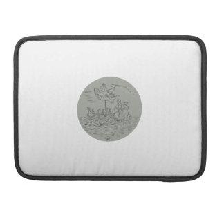 Ancient Greek Trireme Warship Circle Drawing Sleeve For MacBooks