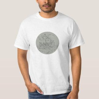 Ancient Greek Trireme Warship Circle Drawing T-Shirt