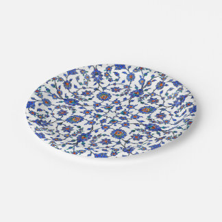 Ancient Handmade Blue Turkish Floral Tiles Pattern 7 Inch Paper Plate
