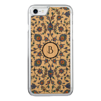 Ancient Handmade Turkish Floral Tiles Pattern Carved iPhone 7 Case
