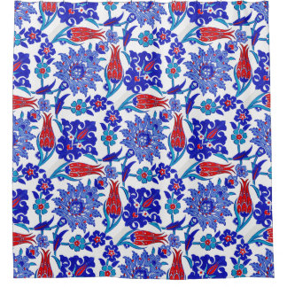 Ancient Handmade Turkish Floral Tulip Tile Pattern