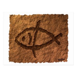 Ancient Hawaiian Fish Petroglyph Postcard