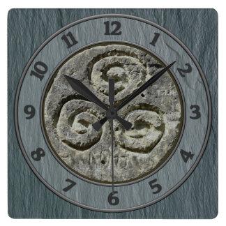 Ancient Image Of A Triskelion Set on Welsh Slate Wallclocks