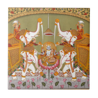ANCIENT INDIAN PAINTING LORD VISHNU HINDU DEITY TILE