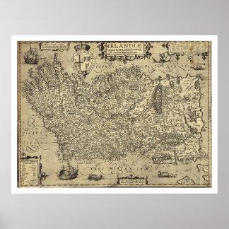 Ancient Ireland Ortelius Map Drawn By Baozio 1606 Poster
