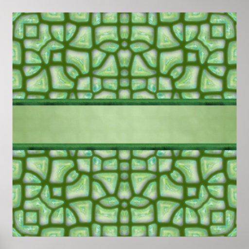 Ancient Jade Mosaic Poster