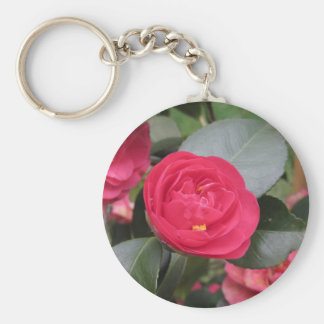 Ancient japanese cultivar of red Camellia japonica Keychain