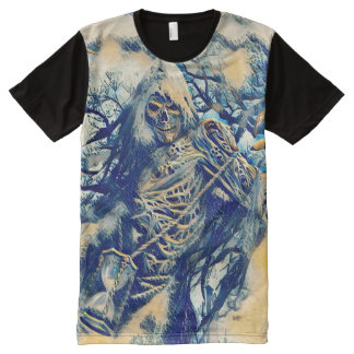 Ancient Japanese Death Scroll Art All-Over-Print T-Shirt