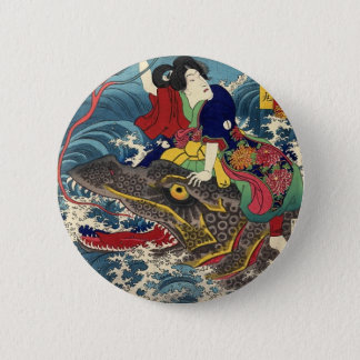 Ancient Japanese Painting, Japanese Woman Riding.. 2 Inch Round Button