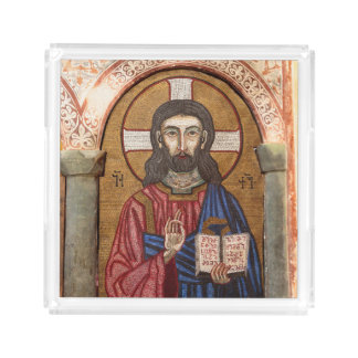 Ancient Jesus Mosaic Acrylic Tray
