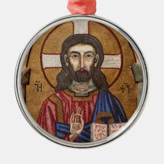 Ancient Jesus Mosaic Metal Ornament