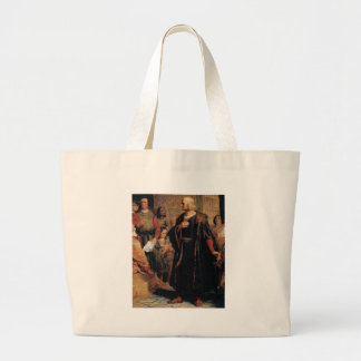 ancient man in black robe large tote bag