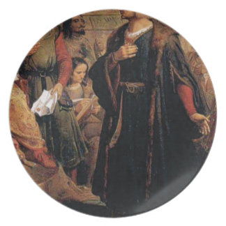 ancient man in black robe plate