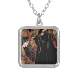ancient man in black robe silver plated necklace