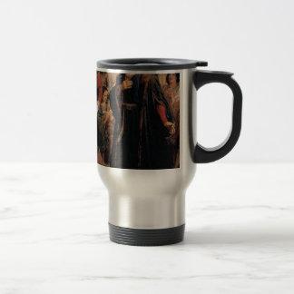ancient man in black robe travel mug