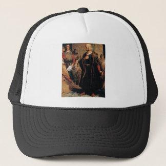 ancient man in black robe trucker hat