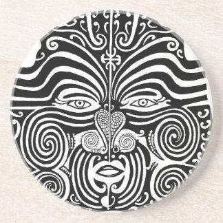 Ancient Maori Moko tribal tattoo design. Beverage Coaster