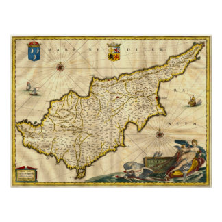 Ancient Map of Cyprus Poster