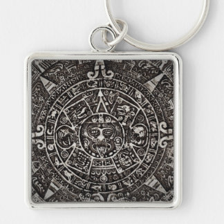 Ancient Mayan Calendar Silver-Colored Square Keychain