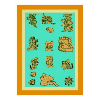 Ancient Mayan Glyphs Posters