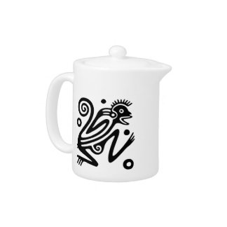 Ancient Mayan Monkey Motif Teapot