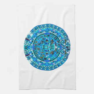 Ancient Mayan Sun Calendar Symbol Kitchen Towel