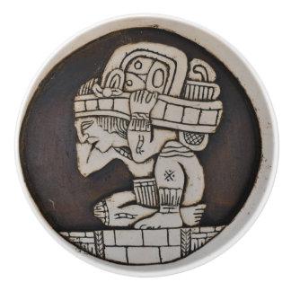 Ancient Mayan Warrior Ceramic Knob