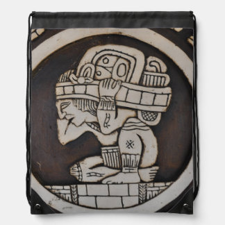 Ancient Mayan Warrior Drawstring Bag