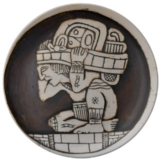 Ancient Mayan Warrior Porcelain Plate