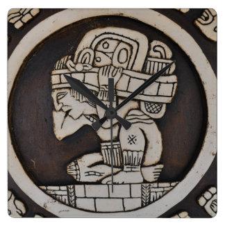 Ancient Mayan Warrior Square Wall Clock