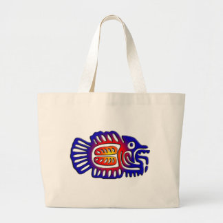 Ancient Mexico Design Fish Large Tote Bag