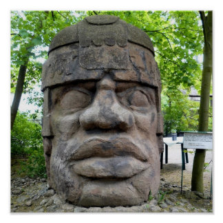 Ancient Olmec Head ! Poster