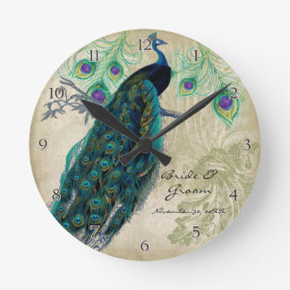 Ancient Peacock & Etchings Personalized Wedding Round Clock