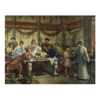Ancient Roman Dinner Party Feast Postcard