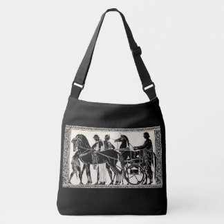 ancient Roman men and horses print Crossbody Bag
