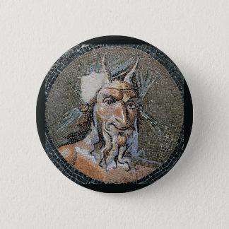 Ancient Roman Pan Mosaic 2 Inch Round Button