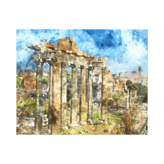 Ancient Roman Ruins in Rome Italy Canvas Print