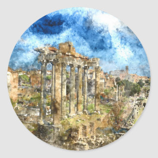 Ancient Roman Ruins in Rome Italy Classic Round Sticker