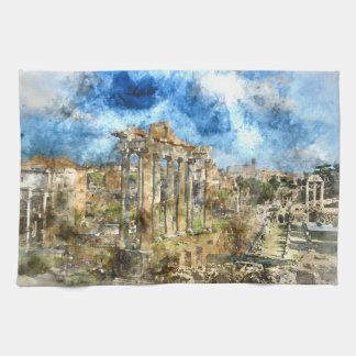 Ancient Roman Ruins in Rome Italy Kitchen Towel