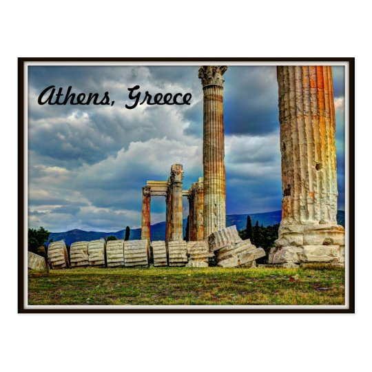 Ancient Ruins in Athens Greece Postcard