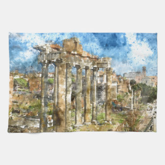 Ancient Ruins in Rome Italy Kitchen Towel