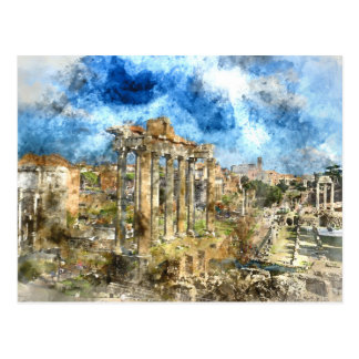Ancient Ruins in Rome Italy Postcard