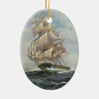 Ancient Sailing Ship Ceramic Ornament