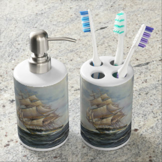 Ancient Sailing Ship Soap Dispenser And Toothbrush Holder