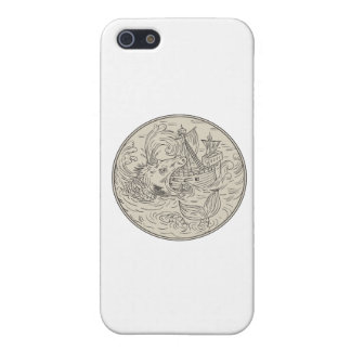Ancient Sea Monster Attacking Sailing Ship Circle iPhone 5 Covers