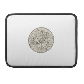Ancient Sea Monster Attacking Sailing Ship Circle Sleeve For MacBook Pro