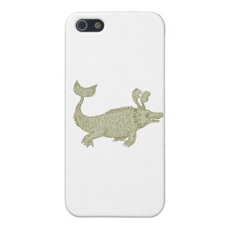 Ancient Sea Monster Drawing iPhone 5/5S Cases