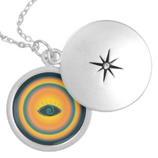Ancient Seeing Eye Tribal Design Blue Orange Silver Plated Necklace