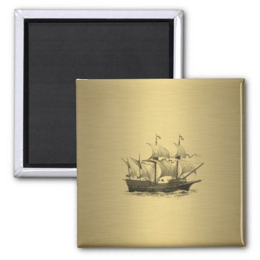 Ancient ship gold refrigerator magnets